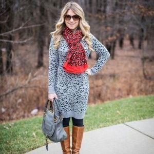 LOFT Petite Grey Leopard Sweater Dress